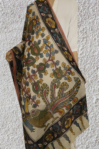 Handwoven Missing Checks Painted Kalamkari Dupatta