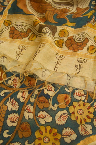 Peacock Blue with Yellow Flower Painted Kalamkari Maheshwari Dupatta