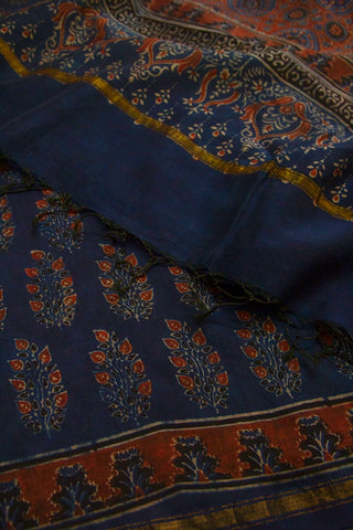 Dark Blue with Maroon Leaves Block Printed Ajrak Chanderi Dupatta