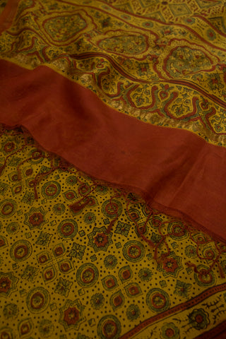 Circles and Stars Block Printed Ajrak Chanderi Dupatta