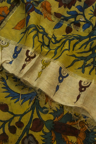 Blue with Brown Flowers Hand Painted Kalamkari Chanderi Dupatta