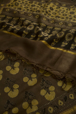 Dark Brown with Mustard Yellow Block Printed Ajrak Chanderi Dupatta