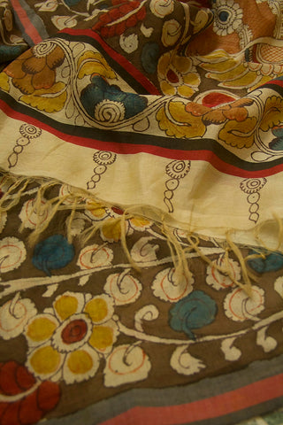 Peacock Dancing  Painted Kalamkari Cotton Dupatta