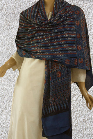 Blue with Maroon and Black Lines Ajrak Cotton Dupatta