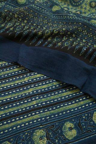 Black with Indigo Lines Block Printed Ajrak Cotton Dupatta