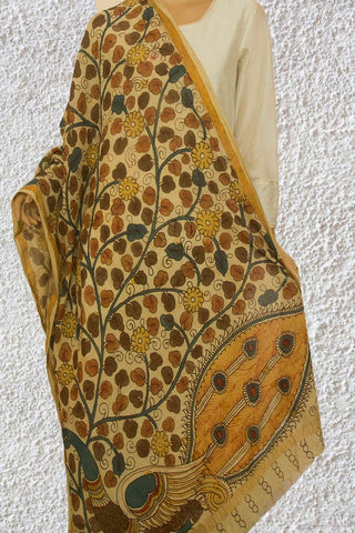 Beige with Yellow Flowers Painted Kalamkari Khadi Dupatta