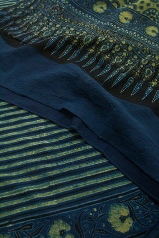 Yellowish Green with Indigo Lines Block Printed Ajrak Cotton Dupatta