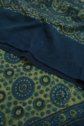 Circles in Indigo Blue Block Printed Ajrak Cotton Dupatta