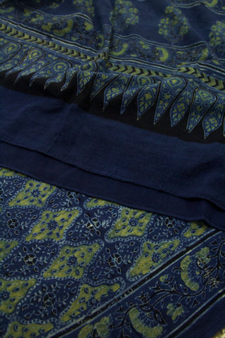 Indigo with Yellow Diamond Block Printed Ajrak Cotton Dupatta