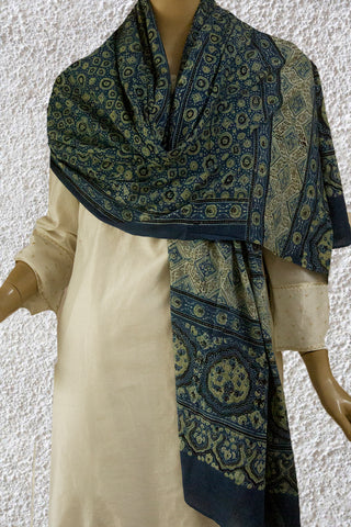 Yellowish Green Stars and Circles Block Printed Ajrak Cotton Dupatta