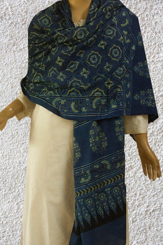 Yellowish Green with Indigo Stars Block Printed Ajrak Cotton Dupatta
