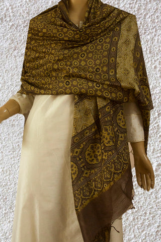 Brownish Grey Circles and Stars Ajrak Chanderi Dupatta