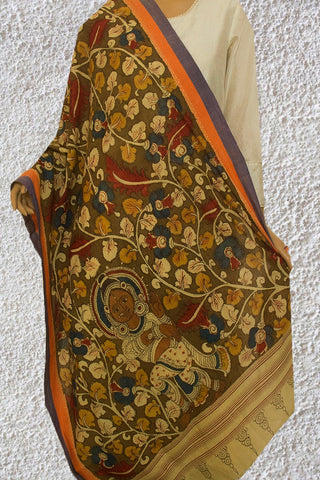 Olive Green with Beige Leaves Painted Kalamkari Cotton Dupatta