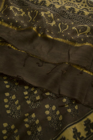 Brownish Grey with Yellow Leaves Block Printed Ajrak Chanderi Dupatta