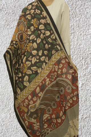 Black with Maroon Hand Painted Kalamkari Khadi Dupatta