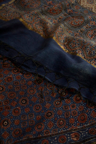 Indigo with Maroon Circles and Stars Block Printed Ajrak Chanderi Dupatta