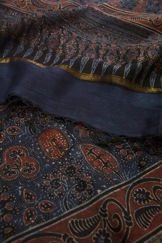 Maroon Leaves and Flowers Block Printed Ajrak Chanderi Dupatta