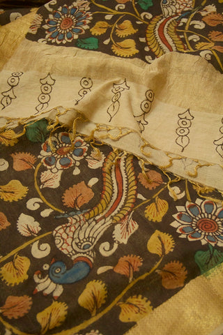Blackish Grey with Blue Floral Painted Kalamkari Maheshwari Dupatta