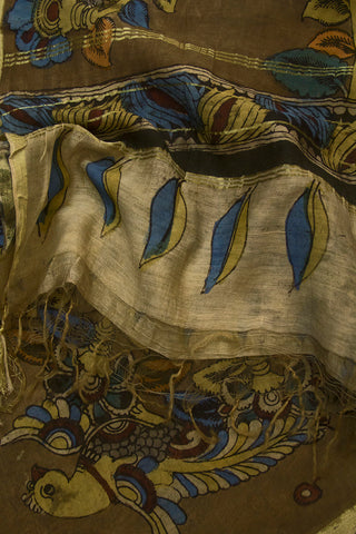 Blue Peacocks Hand Painted Kalamkari Chanderi Dupatta