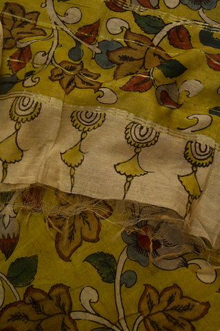 Mustard Yellow with Flower Floral Hand Painted Kalamkari Chanderi Dupatta