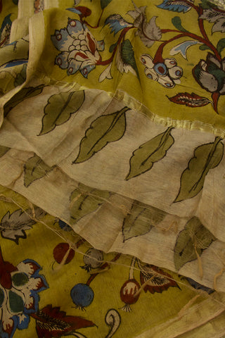 Fenugreek Yellow with Flower Floral Hand Painted Kalamkari Chanderi Dupatta