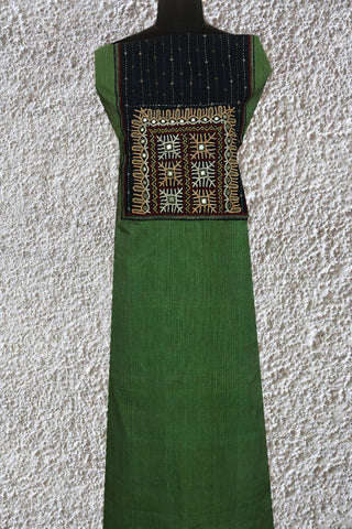 Green with White Pin Stripes Mangalagiri Cotton Fabric with Kutch Embroidered Patch
