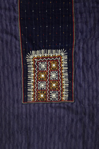 Blue Ikat Cotton Fabric with Kutch Embroidered Patch