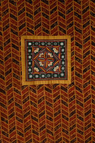 Ajrak Cotton Fabric with Kutch Embroidered Patch