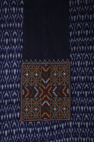 Natural Dyed Ikat Cotton Fabric with Kutch Embroidered Patch