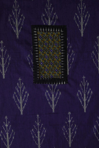 Blue with Grey Ikat Cotton Fabric with Kutch Embroidered Patch