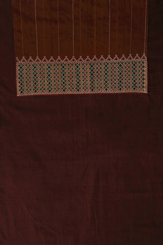 Brown Natural Dyed Mangalagiri Fabric with Kutch embroidered Patch