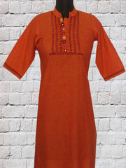 Orange Hand Embroidered Lambani Kurta M