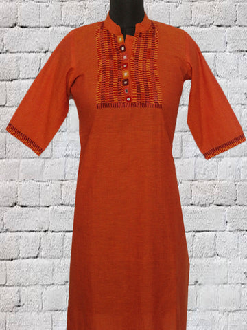 Orange Hand Embroidered Lambani Kurta L
