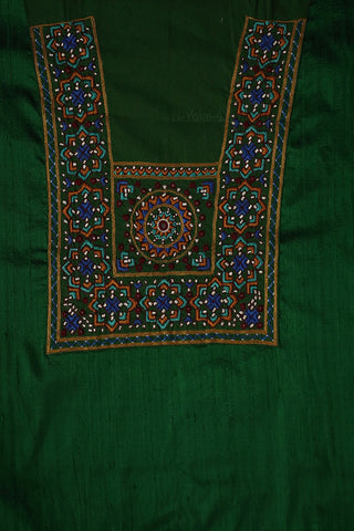 Dark Green Raw Silk Fabric with Kutch Embroidered Patch