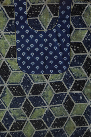 Indigo and Green Ajrak Cotton Fabric with Block Printed Yoke