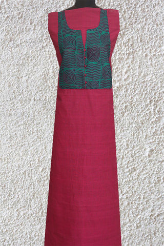 Pink Mangalagiri Stripes Cotton Fabric with Kantha Yoke