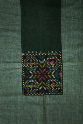 Greyish Green Natural Dyed Khadi Cotton Fabric with Kutch Embroidered Patch