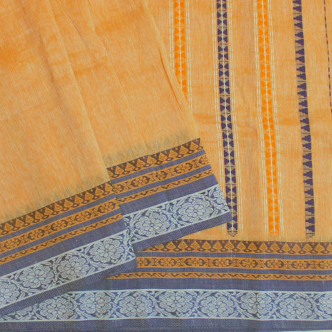 Light Orange with Blue Linen Bengal Cotton Saree