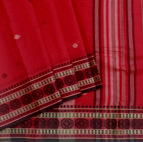 Red Light Weight Hand woven Bengal Cotton Saree