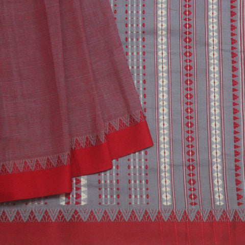 Purple with Red Light Weight Handwoven Cotton Saree