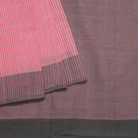 Pink with Grey Fine Checks Handwoven Saree