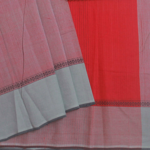 Grey with Red Handwoven Cotton Saree