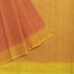 Yellow with Pink Fine Checks Handwoven Cotton Saree