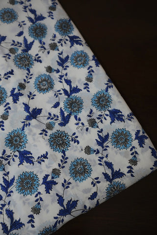 White with Blue and Grey Daisy Floral Sanganeri Cotton Fabric