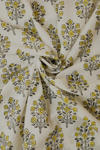 White with Yellow Floral Sanganeri Cotton Fabric