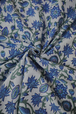 Shades of Blue Floral in Off White Sanganeri Cotton Fabric