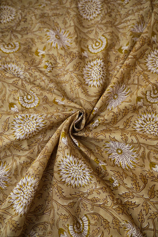 Light Brown Floral Sanganeri Cotton Fabric