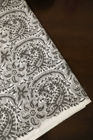 Grey Paisley Block Printed Sanganeri Cotton Fabric