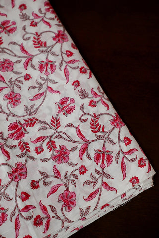 White with Pink Floral Sanganeri Cotton Fabric