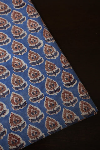 Floral in Light Blue Sanganeri Cotton Fabric